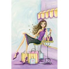 iCanvas Spring Into Shopping Therapy Gallery Wrapped Canvas Art Print by Bella Pilar Canvas Wall Art, Canvas Prints, Painting Prints, Art Prints, Betty Boop Cartoon, Cute Illustration, Wrapped Canvas, Artwork, Spring