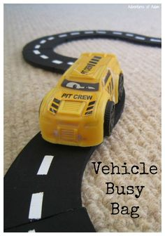 Vehicle Busy Bag. Make your own car track busy bag for your transport mad toddlers and preschoolers. This easy DIY activity is cheap too.