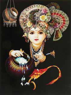 Little Krishna Enjoying the Taste of Butter - Hindu Posters (Reprint On Card Paper - Unframed)