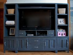 DIY entertainment center…these things usually cost in the hundreds or thousands, right? DIY entertainment center…these things usually cost in the hundreds or thousands, right? Entertainment Center Kitchen, Entertainment Room, Entertainment System, News Logo, Ikea, Diy Furniture Plans, Homemade Furniture, Furniture Makeover, Living At Home