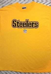 Pittsburgh Steelers T-Shirt Large Reebok NFL Preshrunk Cotton Yellow Vintage af80e9f06