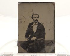 "Antique Vintage Tintype Photograph 7"" X 5"" Seated Male"