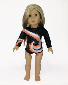 Gymnastics Leotard Black Orange Silver for American Girl and 18inch Dolls