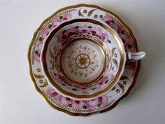 Antique Floral Rose Cup Saucer - Coalport Davenport Spode? c1880