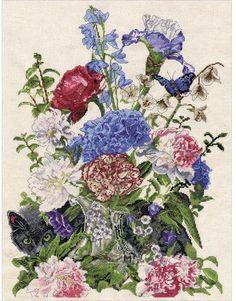 Bouquet with Cat - Cross Stitch Kit