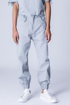 Marques'Almeida Frayed Waist Denim Trousers