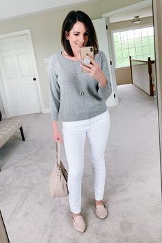 Jo-Lynne Shane wearing Everlane The Cashmere Ballerina Raglan, Madewell High Rise Skinny Jeans, Steve Madden Pointed Slip-On Mule Ripped Knee Jeans, Ripped Jeggings, Boyfriend Jeans, Mom Jeans, Winter Outfit For Teen Girls, Black Jeans Outfit, Trendy Swimwear, Neutral Outfit, Cute Jeans