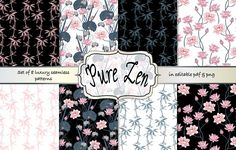 Pure Zen pattern collection by Gaynor Carradice Designs on @creativemarket