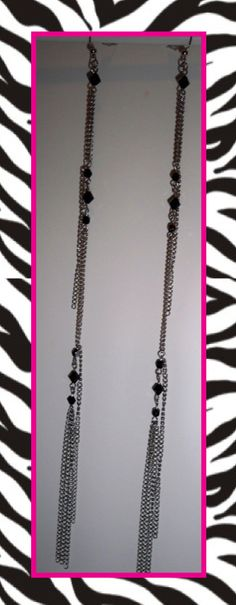 """If you love lengthy lovely chain earrings, you will love these beautifully crystal adorned 10""""-12"""" chain earrings. Adorned with layers of chain and crystal embellishment, these wonderful beauties are sure to make a beautiful statement! Available in black crystal (stainless chains) and pale blue crystal (sterling-plate chains)."""