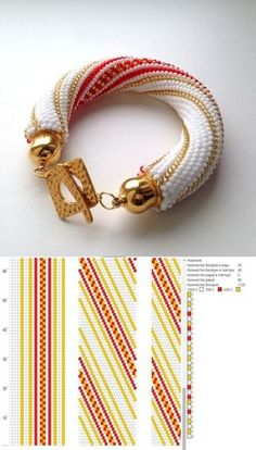 12 around bead crochet rope pattern and a photo showing what a bracelet made using that pattern looks like. I did not create the pattern or jewellery. I simply put the two together as I find it useful to see the finished piece next to the pattern when cho Crochet Jewelry Patterns, Crochet Beaded Bracelets, Beaded Bracelets Tutorial, Embroidery Bracelets, Bead Crochet Rope, Bead Loom Patterns, Seed Bead Bracelets, Bracelet Patterns, Handmade Bracelets