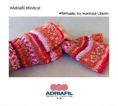 Guanti in puro #merino, per i primi freddi con allegria   Filato #Knitcol #Adriafil http://bit.ly/AdriafilKnitcol   #fattodalei by Marinella Liberini