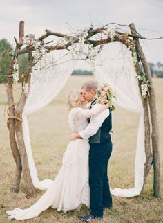 Love love LOVE this    rustic ceremony arch Photography and Styling by Three Nails Photography http://www.threenailsphotography.com