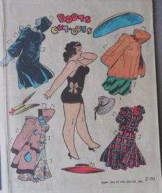 Boots Sunday Page with Uncut Paper Doll from 8 30 1942 Large Full Size Page | eBay