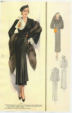 Another Image that looks like a straight-up costume sketch of how I imagine our girl--Thunderhorse Vintage! 1930s Fashion, Retro Fashion, Fashion Art, Vintage Fashion, Classy Fashion, Hijab Fashion, Spring Fashion, Style Fashion, Winter Fashion