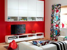 Witte BESTÅ bovenkasten en tv-meubel met lades