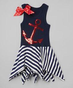 Navy Maritime Handkerchief Dress - Infant, Toddler & Girls
