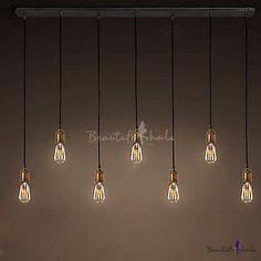 7 Light Linear Led Mulit Pendant In Edison Bulb Style