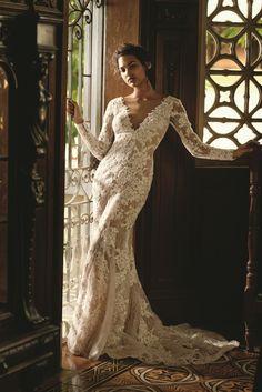 Galina Signature Long Sleeve Sheath with Illusion V-Neckline Wedding Gown