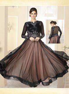 Black Net Embroidered Work Designer Classic Anarkali Suit