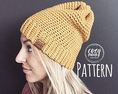"Crochet Pattern // ""The Linden Beanie"" // Hat pattern /Crochet Pattern / hat pattern / beanie pattern / crochet Diy Crochet Hat, Chunky Crochet Hat, Ribbed Crochet, Crochet Cozy, Crochet Toddler, Crochet Beanie Pattern, Chunky Hat Pattern, Chunky Knitting Patterns, Crochet Patterns"