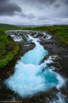 """Azure"" Incredible blues in the Brúará river at Brúarfoss, Iceland"