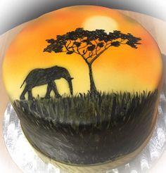 Afrika Airbrush Torte Cake Africa Airbrush Beautiful Cakes, Amazing Cakes, Africa Cake, Airbrush Cake, Safari Cakes, Adult Party Themes, Torte Cake, Themed Cakes, Cake Art