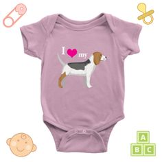 Babies and #beagles = love! Show your love with this cute onesie > https://morethenshirts.com/collections/baby-onesies/products/i-love-my-beagle-baby-onesie #babygifts