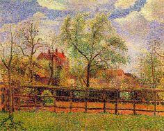 Poiriers en fleurs à Éragny, Matin Camille Pissarro