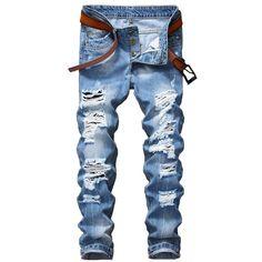 cceb4a7de5bb 2017 Designer Men's Ripped Jeans Pants Slim Fit Light Blue Denim Joggers Male  Distressed Destroyed Trousers Button Fly Pants