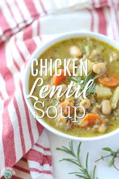 Chicken Lentil Soup: Easy Weeknight Soup full of healthy ingredients! The whole family will love this soup and won't even know it has lentils. Chicken Lentil Soup, Lentil Soup Recipes, Healthy Soup Recipes, Real Food Recipes, Cooking Recipes, Pre Cooked Chicken, Thing 1, Kitchen Recipes, Soup And Salad