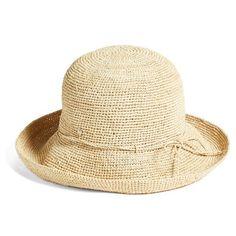 Helen Kaminski '9 Villa' Raffia Straw Hat ($230) ❤ liked on Polyvore featuring accessories, hats, chapéu, natural, helen kaminski hats, adjustable hats, adjustable sun hat, band hats and raffia straw hat