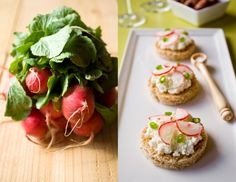 Mini radish ricotta and green onion tartines.  For a spring party in the garden!