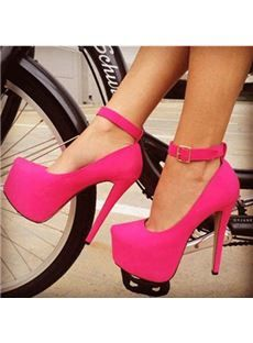Glaring Rose Suede Rivets Decoration Platform High Heel Shoes