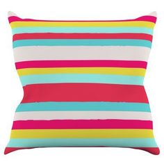 Kess InHouse Nika Martinez Girly Surf Stripes Indoor / Outdoor Throw Pillow - MM1023AOP02