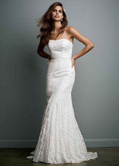 Strapless Lace Gown with Ribbon Detail - David's Bridal