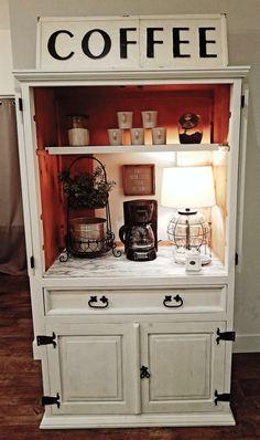 Coffee Bars In Kitchen, Coffee Bar Home, Home Coffee Stations, Refurbished Furniture, Repurposed Furniture, Diy Furniture Projects, Furniture Makeover, Coffee Bar Design, Coffee Nook
