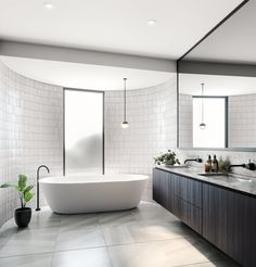Modern Canny Borland Architects master ensuite with curved wall