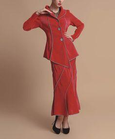 Loving this Red Asymmetrical Jacket & Skirt - Women on #zulily! #zulilyfinds