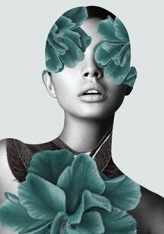 Floral Portrait (woman) by – Malerei Art Visage, Photocollage, Surreal Art, Portrait Art, Face Art, Collage Art, Flower Collage, Framed Art Prints, Art Photography