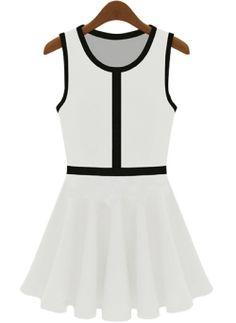 Vestido tirantes plisado-Blanco EUR18.24 www.sheinside.com