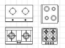 Symbole für Küchenplan Grundriss Baupläne Planer