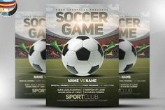 Soccer Game Flyer Template 2 by FlyerHeroes on @creativemarket