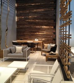 For a very relaxing waiting area.... Aveda salons would benefit from this look #relax #salondesign   **LIKE THE WALL SEPARATION