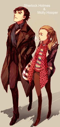Sherlock Holmes & Molly Hooper. -- Some seriously lovely fanart, very cool style// if someone knows who the artist is I would /love/ to know!!