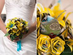 A bouquet made from comic book pages will last forever.Photo Credit: Dianne Personett Photography