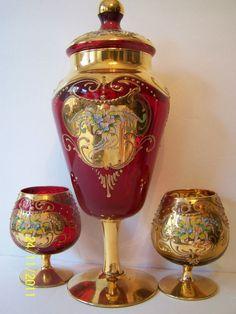 CZECH BOHEMIAN ART GLASS RUBY RED 24K GOLD LARGE CANDY DISH + GLASSES