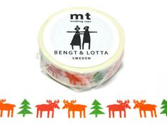 Happy Moose Christmas BENGT & LOTTA mt washi tape available at Cute Things from Japan.