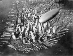 NYC. Zeppelin over Lower Manhattan, 1931
