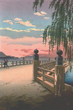 Sunset Glow at Seta Bridge, by Koitsu Tsuchiya (1870-1949)