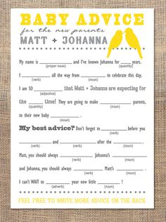 So cute. Mad Libs (Advice card) - Baby Shower  on Etsy